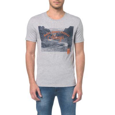 Camiseta Ckj Mc Estampa Imagem Escritos - Mescla