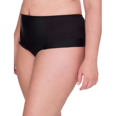 Calcinha Lateral Dupla Renda Plus Size - Preto