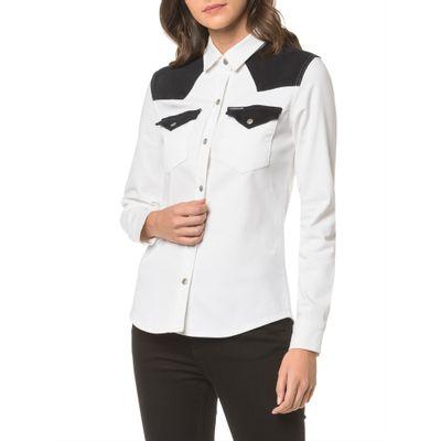 Camisa Color Manga Longa - Branco