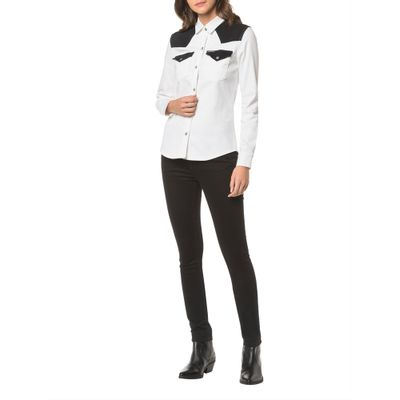 Camisa Color Manga Longa - Preto Branco