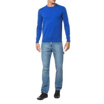 Sweater Ckj Masculino Logo - Azul Royal