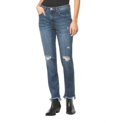 Calça Jeans Five Pockets Ckj 031 Mid Rise Straight - Marinho