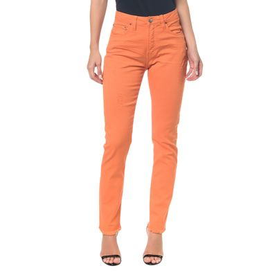 Calças Color Five Pockets High Rise Slim - Laranja