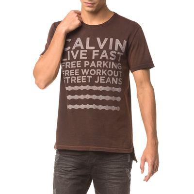 Camiseta Ckj Mc Estampa Calvin Live Fast - Vermelho
