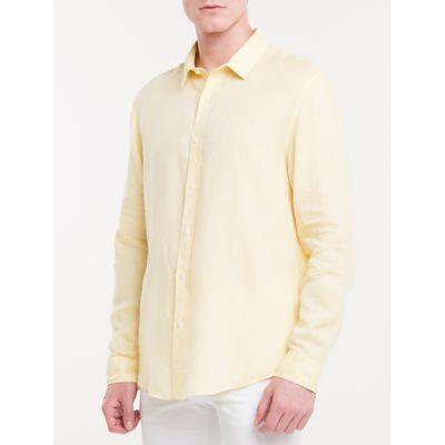Camisa Regular Cannes Linen - Amarelo Claro