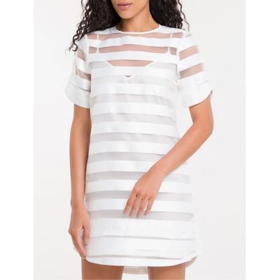 Dress T-Shirt Listras Calvin Klein - Branco