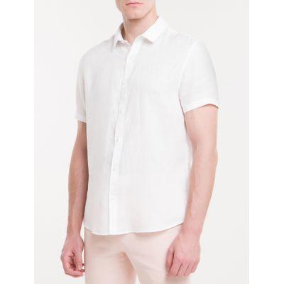 Camisa Mg Curta Regular Cannes Linen - Branco