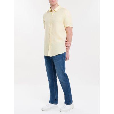 Camisa Mg Curta Regular Cannes Linen - Amarelo Claro