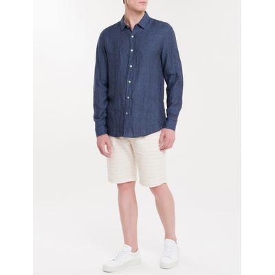 Camisa Regular Cannes Linen - Azul Marinho