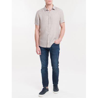 Camisa Mg Curta Regular Cannes Linen - Caqui Claro