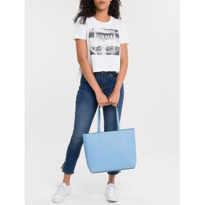 Bolsa Tote Ckj Fem Zipper Ultra Light - Azul Médio