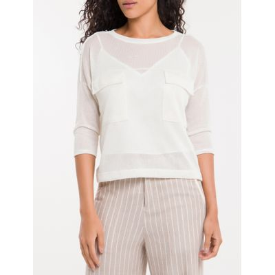 Cropped Bolsos Calvin Klein - Branco