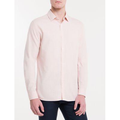Camisa Slim Monte Carlo Linen Flamê - Rosa Claro
