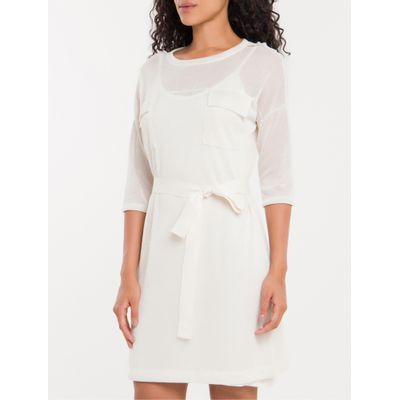 T-Shirt Dress Bolsos Calvin Klein Branco