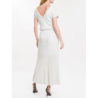 Vestido Tricot Canelado Manga Curta Ck - Branco