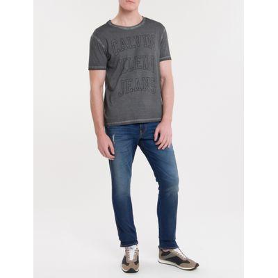 Camiseta Masculina Logo Double Cinza Calvin Klein Jeans
