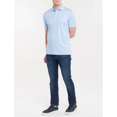 Polo Basica Liquid Cotton Bordado - Azul Claro