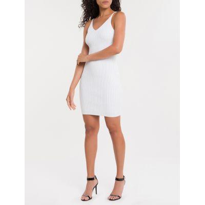 Vestido De Tricot Com Decote V - Off White