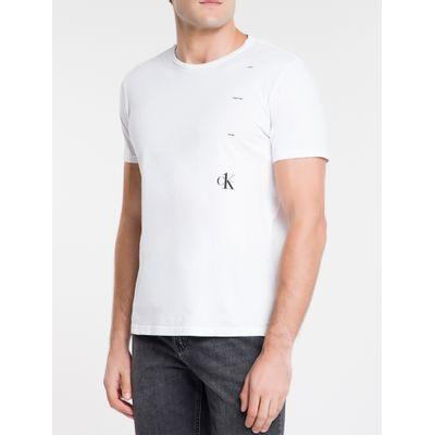Camiseta Masculina Rosa CK One nas Costas Branca Calvin Klein Jeans