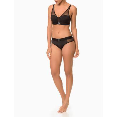 Top Sutiã Triângulo com Bojo e Tule Preto Underwear Calvin Klein