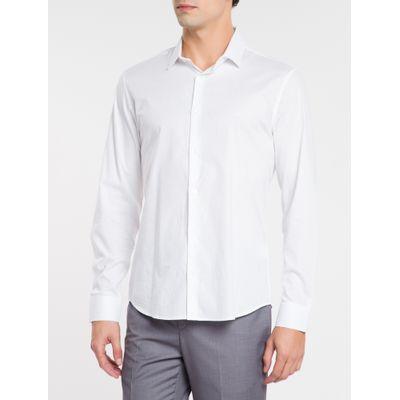 Camisa Slim Ml Fio 40 Grav Maquinetado - Branco