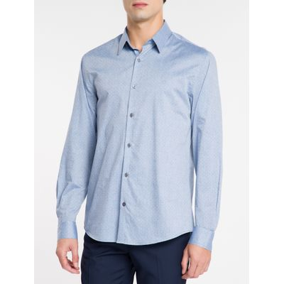 Camisa Regular Masculina Azul Médio