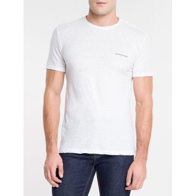 Camiseta Masculina Desfibrada Branca Calvin Klein Jeans