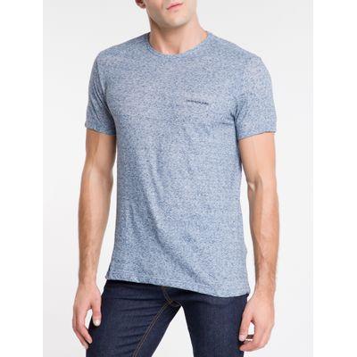 Camiseta Masculina Desfibrada Azul Médio Calvin Klein Jeans
