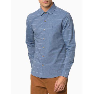 Camisa Slim Ml Fio 60 Maxi Listrado - Azul Médio
