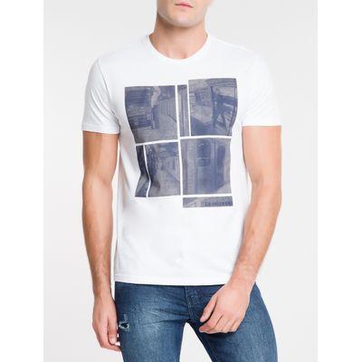 Camiseta Masculina Estampa Metrô NY Branca Calvin Klein Jeans
