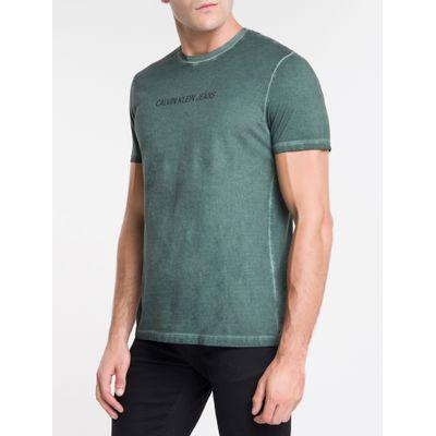 Camiseta Masculina Básica Estonada Militar Calvin Klein Jeans