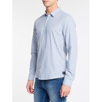 Camisa Ml Slim Listr H Sbols Amac - Azul Claro