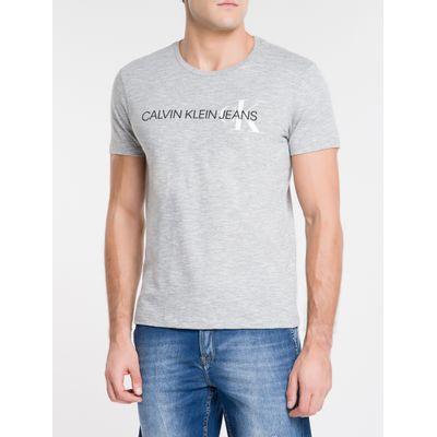 Camiseta Masculina Básica Logo CK Lateral Cinza Calvin Klein Jeans