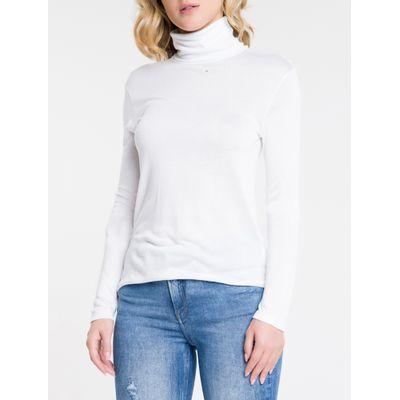 Blusa Feminina Manga Longa e Gola Alta Branca Calvin Klein Jeans