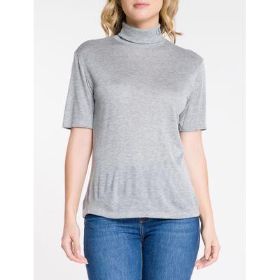 Blusa Feminina Slim Gola Alta Cinza Calvin Klein Jeans