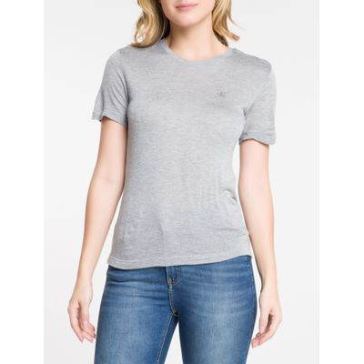 Blusa Feminina Básica Slim Cinza Calvin Klein Jeans