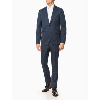 Costume Slim Pv Grid - Azul Médio