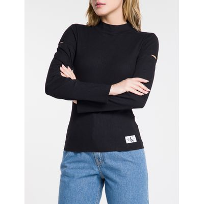 Blusa Feminina Canelada Manga Longa Preta Calvin Klein Jeans