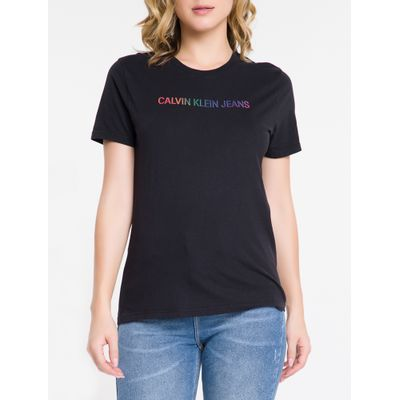 Blusa Feminina Slim Logo Pride Preta Calvin Klein Jeans