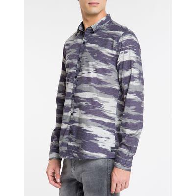 Camisa Ml Slim Print Sbols Amac - Militar