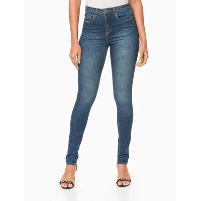 Calça Jeans Five Pockets Jegging High - Azul Médio