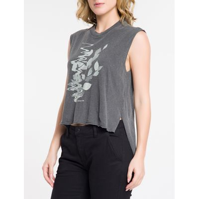 Blusa Regata Feminina Estonada Solta Estampa de Folhas Preta Calvin Klein Jeans