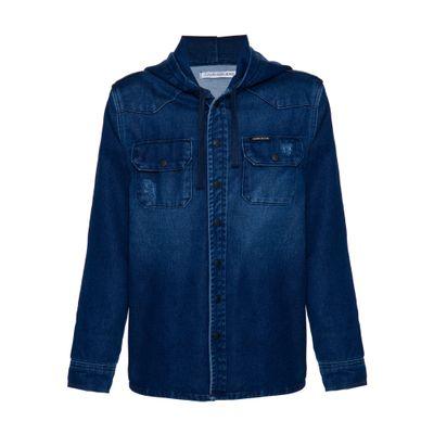 Camisa Jeans Overshirt Mol Capuz - Marinho