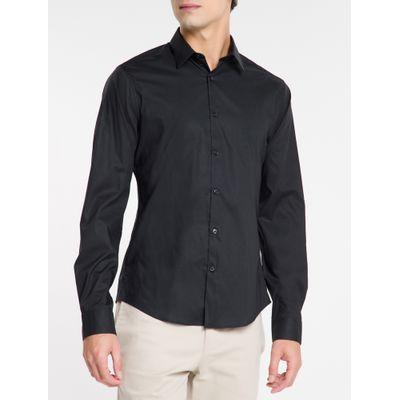 Camisa Mg Longa Masculina Preta
