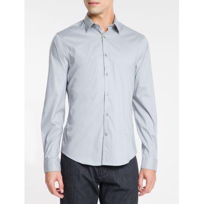 Camisa Mg Longa Masculina Cinza Médio