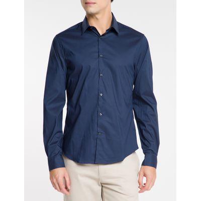 Camisa Mg Longa Masculina Azul Marinho