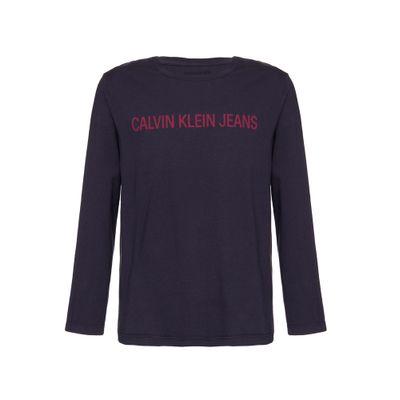 Camiseta Masculina Infantil Logo Rosa Manga Longa Azul Marinho Calvin Klein Jeans