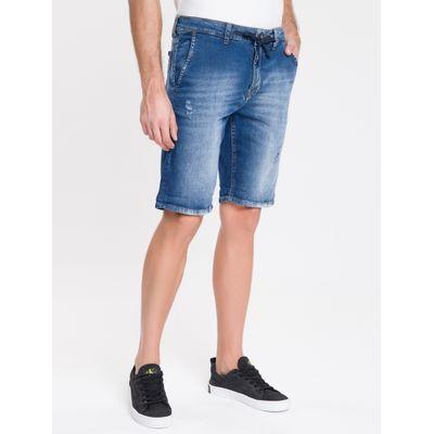Bermuda Jeans Bolso Faca E Cadarço - Azul Médio