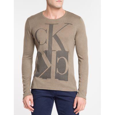 Tricot Suéter Estampado Gola C Algodão - Caqui Claro