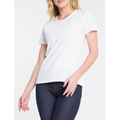 Blusa Feminina Básica Slim Gola a Fio Branca Calvin Klein Jeans